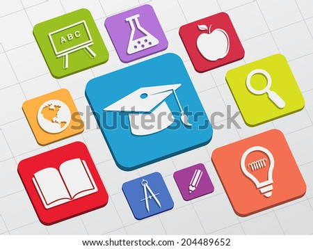 education signs - white symbols in colorful flat design blocks, learning concept icons, vector - stock vector
