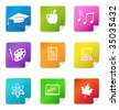 Education sticker icons - stock vector