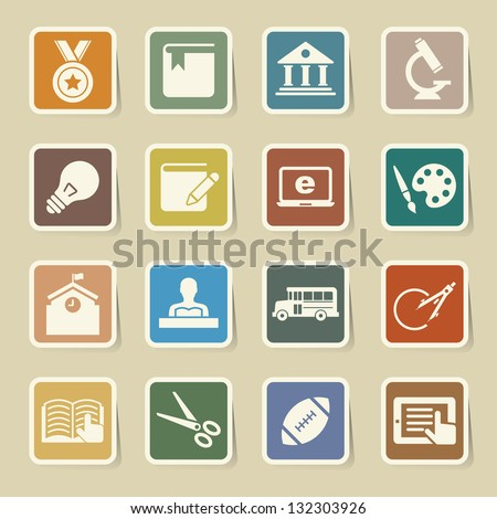 Education sticker icons set. Illustration eps 10