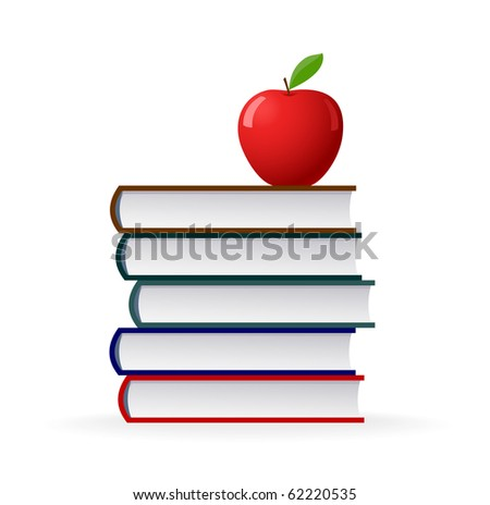 Education symbol stack of books and  red apple - stock vector