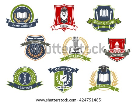 Education Symbols University College School Design Stockvector