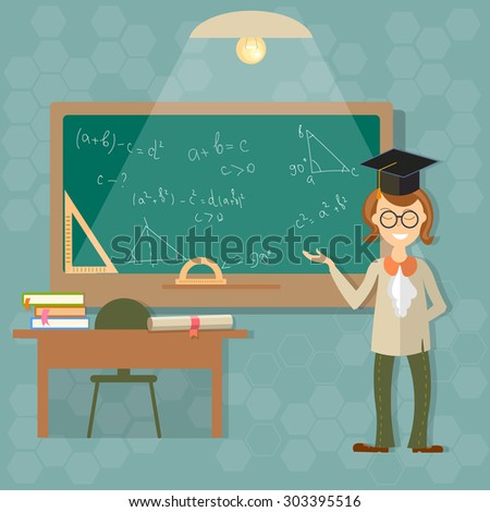 Education teacher blackboard back to school classroom students college university teach learn formula algebra geometry theory thinking vector illustration - stock vector