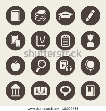 Education theme icons - stock vector