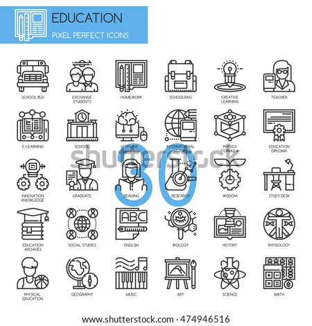 Education , Thin Line and Pixel Perfect Icons