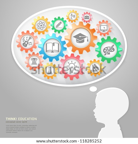 Education Thinking Concept. Children and Bubble Think with Education icons in Gears. Vector Illustration - stock vector