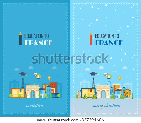 Education to France. Cute invitation card with winter city life and space for text. Merry Christmas greeting card design. Paris Christmas winter. Vector illustration. - stock vector