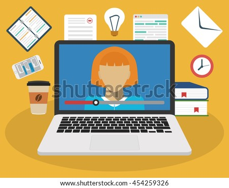 Education, training, online tutorial, e-learning concept. On the laptop screen video training. Flat vector illustration. - stock vector