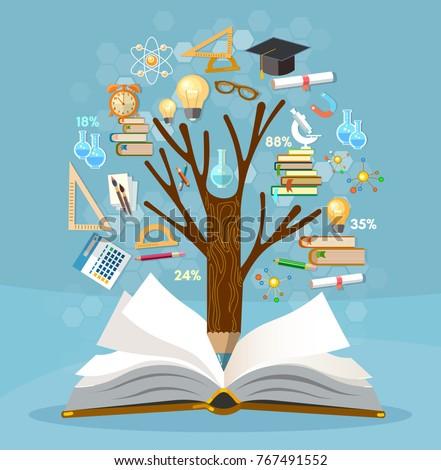 Education tree knowledge open book effective stock vector education tree of knowledge and open book effective modern education template design back toneelgroepblik Images