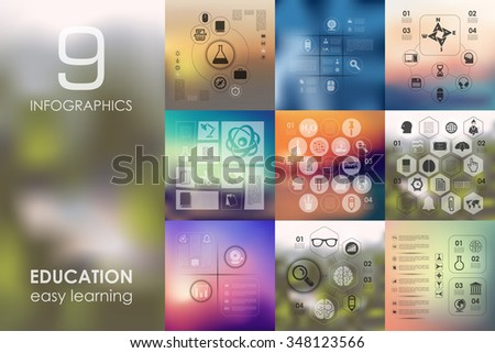 education vector infographics with unfocused blurred background - stock vector