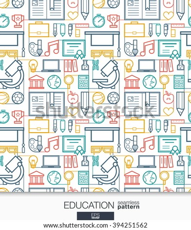 Education wallpaper. School and university connected seamless pattern. Tiling textures with thin line integrated web icons set. Vector illustration. Abstract elearning background for mobile app - stock vector