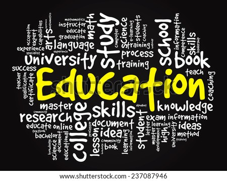 EDUCATION. Word business collage, vector black background - stock vector