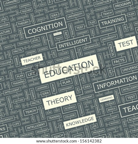 EDUCATION. Word cloud illustration. Tag cloud concept collage. Vector text illustration.