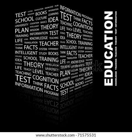 EDUCATION. Word collage on black background. Vector illustration. Illustration with different association terms. - stock vector