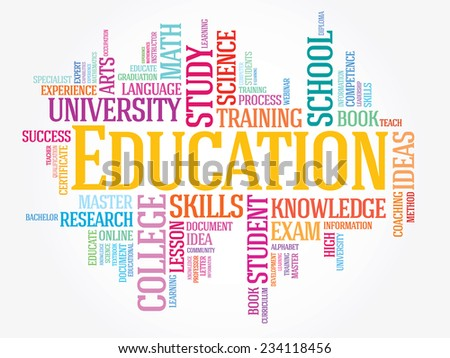EDUCATION. Word colorful business collage on white vector background - stock vector