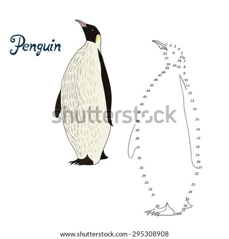 educational game connect the dots to draw penguin bird vector illustration