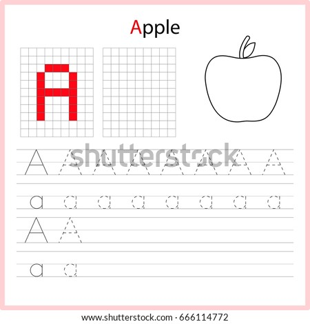 writing az alphabet exercises game kids stock vector 613776230 shutterstock. Black Bedroom Furniture Sets. Home Design Ideas