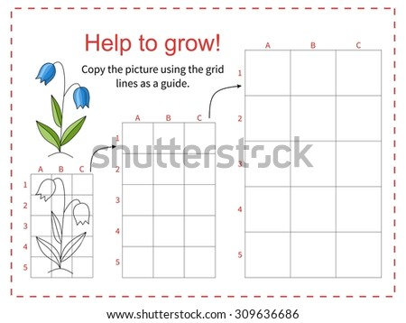 Educational game for children - Help flower to grow - copy the picture using the grid. Vector illustration.  - stock vector