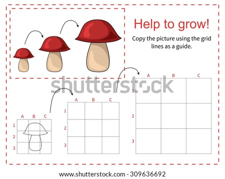 Educational game for children - Help mushroom to grow - copy the picture using the grid. Vector illustration.