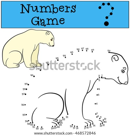 Educational game: Numbers game. Cute polar bear sits and smiles.