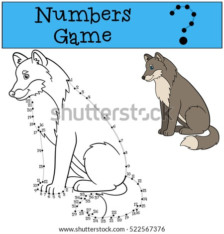 Educational game: Numbers game with contour. Cute beautiful wolf sits and smiles.