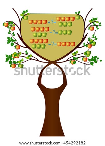 Educational games for children, action relationship of addition and subtraction, examples with apples.  - stock vector