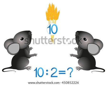 Educational games for children, divide by two the number. - stock vector