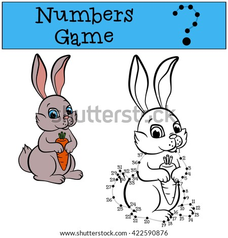 Educational games for kids: Numbers game with contour. Little cute rabbit holds a carrot.