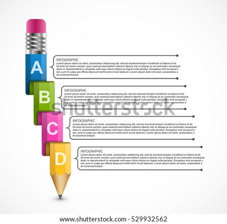 Educational Infographics template with pencil. for business presentations or information banner