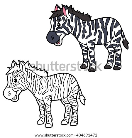 educational kids cartoon coloring page vector educational coloring page of happy cartoon zebra for children