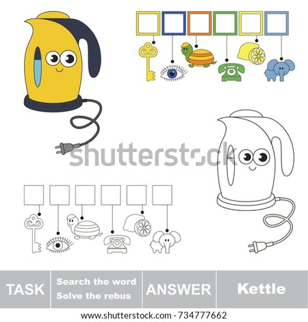 Educational Puzzle Game For Kids Find The Hidden Word Funny Yellow Electric Kettle