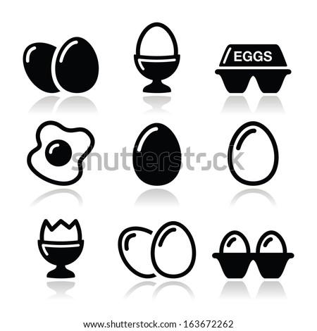 Egg, fried egg, egg box icons set - stock vector