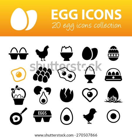 egg icons - stock vector