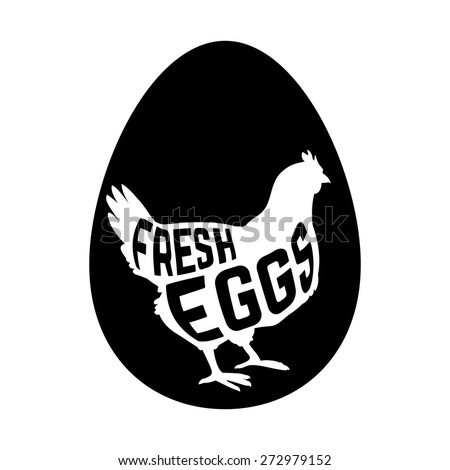 Egg with concept chicken silhouette inside on white background. Vector illustration - stock vector