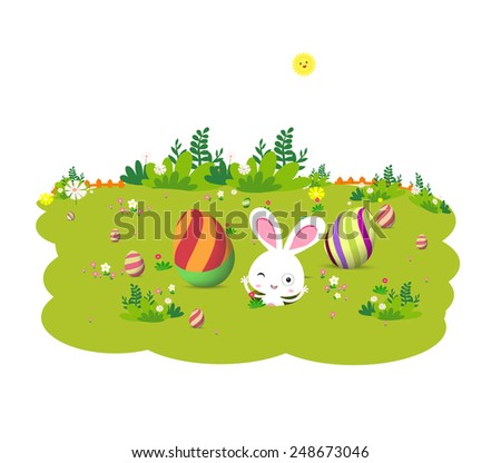 Eggs and Easter bunny - stock vector