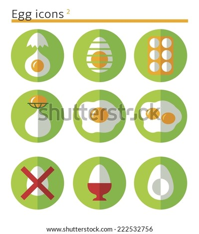 eggs. flat vector icon set in circles. - stock vector