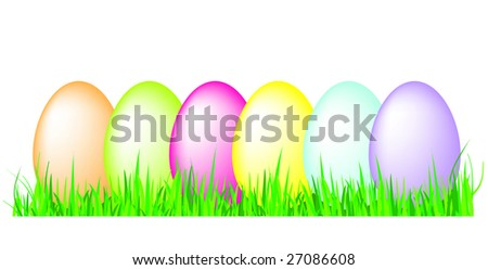 Eggs in grass vector - stock vector