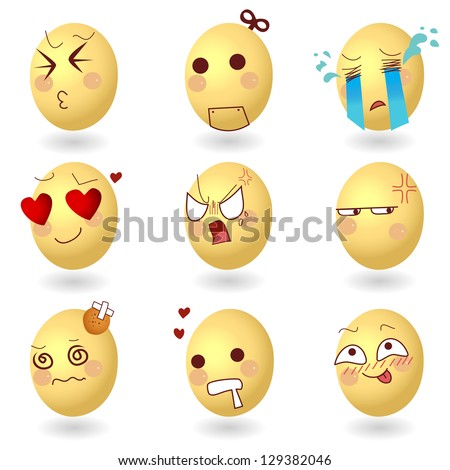 Eggs Vector Emotions Set1 on white background - stock vector