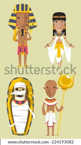 Egypt Egyptian People Pharaoh Clothes vector illustration. - stock vector