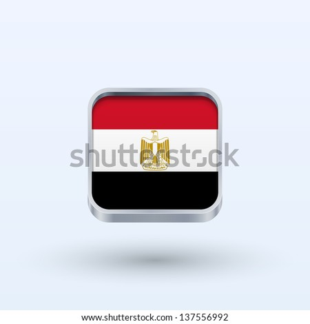 Egypt flag icon square form on gray background. Vector illustration. - stock vector