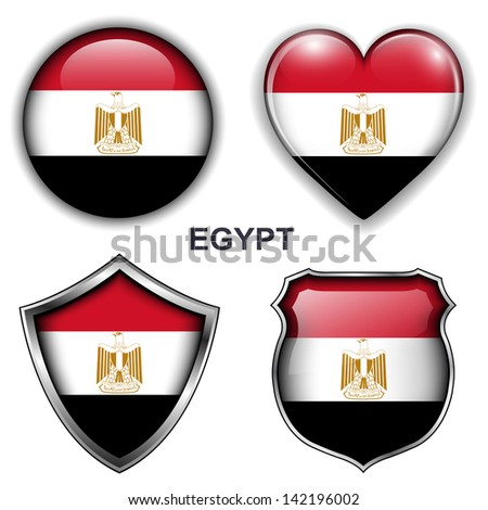 Egypt flag icons, vector buttons.  - stock vector