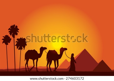 Egypt Great Pyramids with Camel caravan on sunset background vector illustration - stock vector