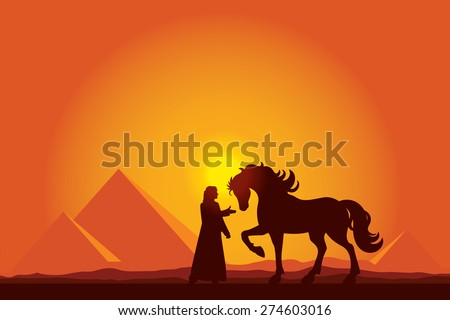Egypt Great Pyramids with silhouette of Bedouin and horse on sunset background vector illustration - stock vector