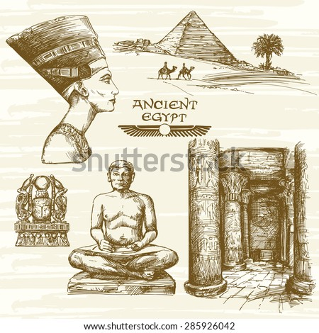 Egypt - hand drawn set - stock vector