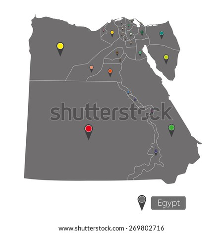 Egypt map with regions on white background - stock vector