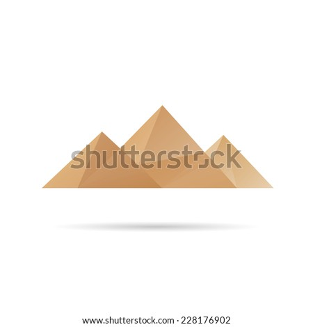 Egypt pyramids icon abstract isolated on a white backgrounds, vector illustration - stock vector