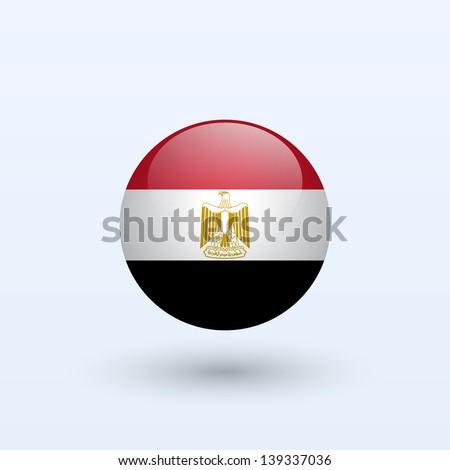 Egypt Round Flag. Vector illustration. - stock vector