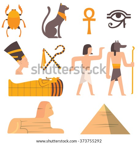 Egypt travel vector icons. Egypt symbols. Travel to Egypt infographic design elements vector illustration cartoon style. Pharaohs, egypt cat, pyramid and head - stock vector