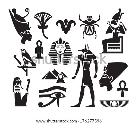 Egyptian Symbols Hieroglyphs On The Background Freehand Sketch For