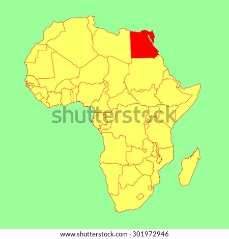 Egypt vector map isolated on Africa map. Editable vector map of Africa.  - stock vector
