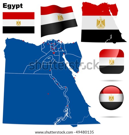 Egypt vector set. Detailed country shape with region borders, flags and icons isolated on white background. - stock vector